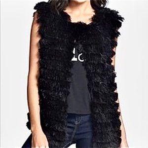 Lark Black Shaggy Faux Fur Vest